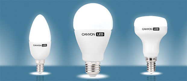 An example of LED lamps for the house with caps E27, E14